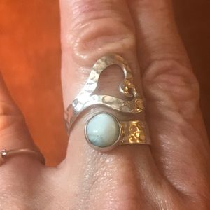 Hammered Sterling and Larimar Wrap Ring💍